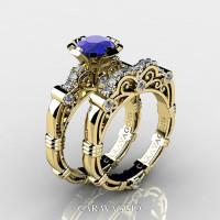 Art Masters Caravaggio 18K Yellow Gold 1.0 Ct Blue Sapphire Diamond Engagement Ring Wedding Band Set R623S-18KYGDBS