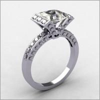 Classic Style 14K White Gold .32 ctw Diamond 1.5CT Princess Cut Zirconia Bridal Ring R63-14KWGDCZ-1