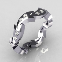 18K White Gold .35 CTW Round Diamond Eternity Ring Y245-18KWGDD-1