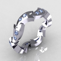 14K White Gold .35 CTW Round Blue Topaz Eternity Ring Y245-14KWGBT-1