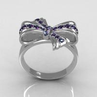 Classic Style 10 Karat White Gold Round Pave Alexandrite Stone Ribbon Ring R92-10KWGAL-1