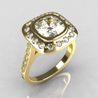 Classic Legacy Style 18K Yellow Gold 2.0 Carat Cushion Cut CZ Accent Diamond Engagement Ring R60-18KYGDCZ-1