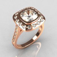 Classic Legacy Style 18K Pink Gold 2.0 Carat Cushion Cut CZ Accent Diamond Engagement Ring R60-18KPGDCZ-1