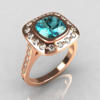 Classic Legacy Style 14K Pink Gold 2.0 Carat Cushion Cut Aquamarine Accent Diamond Engagement Ring R60-14KPGDAQ-1