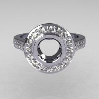 Classic Brilliant Style 18K White Gold 1.0 Carat Round Semi Mount Accent Diamond Bead-Set Border Engagement Ring R42-18KWGDSEMI-1