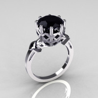 Modern Vintage Anais Collection 18K White Gold 3.0 Carat Black Diamond Solitaire Wedding Ring R303-18WGBLL-1