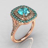 Soleste Style 10K Rose Gold 1.25 Carat Cushion Aquamarine Bead-Set Diamond Engagement Ring R116-10RGDAQQ-1