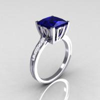 Modern Italian 18K White Gold 2.0 Carat Princess Blue Sapphire Channel Diamond Solitaire Ring R312-18KWGBSD-1