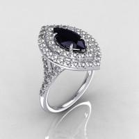 Soleste Style Bridal 18K White Gold 1.0 Carat Marquise Black and White Diamond Engagement Ring R117-18WGDBLD-1