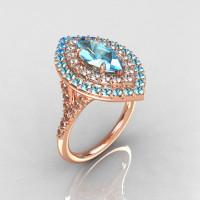 Soleste Style Bridal 18K Rose Gold 1.0 Carat Marquise Aquamarine Diamond Engagement Ring R117-18RGDAQQ-1