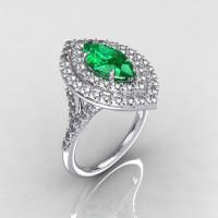 Soleste Style Bridal 14K White Gold 1.0 Carat Marquise Emerald Diamond Engagement Ring R117-14WGDEM-1