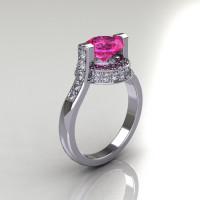 Italian Bridal 18K White Gold 1.5 Carat Pink Sapphire Diamond Wedding Ring AR119-18WGDPS-1