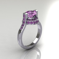 Italian Bridal 10K White Gold 1.5 Carat Lilac Amethyst Wedding Ring AR119-10WGLAA-1