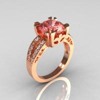 Modern Vintage 18K Rose Gold 3.0 Carat Morganite Diamond Solitaire Ring R102-18KRGDMO-1