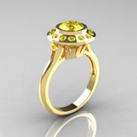 Classic 10K Yellow Gold 1.0 Carat Yellow Topaz Bridal Engagement Ring R400-10KYGYTT-1