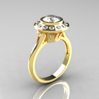 Classic 10K Yellow Gold 1.0 Carat CZ Diamond Bridal Engagement Ring R400-10KYGDCZ-1