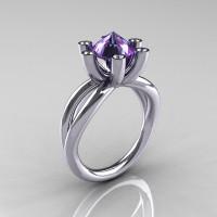 Modern Russian 14K White Gold 2.0 Carat Alexandrite Diamond Bridal Ring RR111-14KWGDAL-1