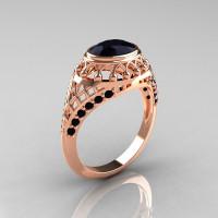 Modern Victorian 14K Rose Gold 1.16 Carat Oval Black Diamond Bridal Ring R158-14KRGBDD-1