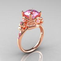 Modern Vintage 10K Rose Gold 2.5 Ct Light Pink Sapphire Wedding Ring Engagement Ring R167-10KRGLPS-1