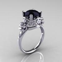 Modern Vintage 14K White Gold 2.5 Ct Black and White Diamond Wedding Engagement Ring R167-14KWGDBD-1