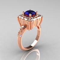 Modern Antique 10K Rose Gold 1.0 Carat Blue Sapphire Diamond Engagement Ring AR116-10KRGDBLS-1