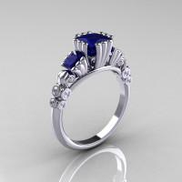 Classic 10K White Gold 1.25 CT Princess Blue Sapphire Diamond Three Stone Engagement Ring R171-10KWGDBS-1