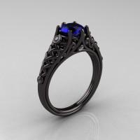 Designer Exclusive Classic 18K Black Gold 1.0 Carat Blue Sapphire Diamond Lace Ring R175-18KBGDBS-1