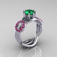 Modern Bridal 18K White Gold 1.0 CT Emerald Pink Sapphire Designer Ring R181-18KWGPSEM-1