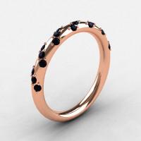 French Bridal 18K Rose Gold Black Diamond Wedding Band R185B-18KRGBD-1