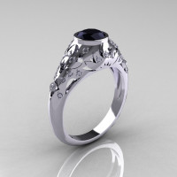 Classic 14K White Gold 0.65 Carat Black and White Diamond Engagement Wedding Ring R302-14KWGDBD-1