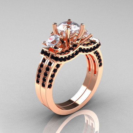 French 14K Rose Gold Three Stone Black Diamond White Sapphire Wedding Ring Engagement Ring Bridal Set R182S-14KRGBDWS-1