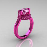Modern Italian 14K Pink Gold 1.5 CT Light Pink Sapphire Wedding Ring Engagement Ring AR119-14KPGLPS-1
