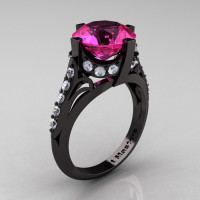 French Vintage 14K Black Gold 3.0 CT Pink Sapphire Diamond Bridal Solitaire Ring Y306-14KBGDPS-1