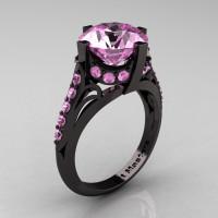 French Vintage 14K Black Gold 3.0 CT Light Pink Sapphire Bridal Solitaire Ring Y306-14KBGLPS-1