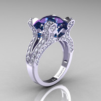 French Vintage 14K White Gold 3.0 CT Russian Alexandrite Diamond Pisces Wedding Ring Engagement Ring Y228-14KWGDAL-1