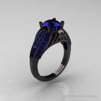 Aztec Edwardian 14K Black Gold 1.0 CT Blue Sapphire Engagement Ring R001-14KBGBS-1