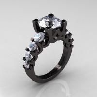 Modern Vintage 14K Black Gold 3.0 Carat White Sapphire Designer Wedding Ring R142-14KBGWS-1
