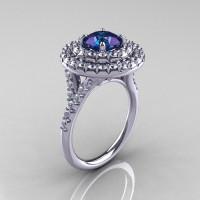 Classic Soleste14K White Gold 1.0 Ct Chrysoberyl Alexandrite Diamond Ring R236-14KWGDAL-1