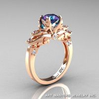 Classic Angel 14K Rose Gold 1.0 Ct Chrysoberyl Alexandrite Diamond Solitaire Engagement Ring R482-14KRGDAL-1