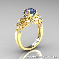 Classic Angel 14K Yellow Gold 1.0 Ct Chrysoberyl Alexandrite Diamond Solitaire Engagement Ring R482-14KYGDAL-1