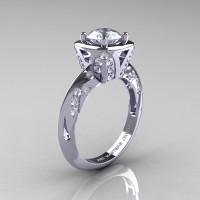 Classic French 14K White Gold 1.0 Carat White Sapphire Diamond Engagement Ring Wedding RIng R502-14KWGDWS-1