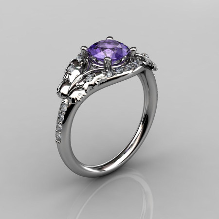14KT White Gold Diamond Leaf and Vine Amethyst Wedding Ring Engagement Ring NN117-14KWGDAM Nature Inspired Jewelry-1
