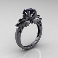 Classic Angel 14K Gray Gold 1.0 Carat Black Diamond Solitaire Engagement Ring R482-14KGGBD-1