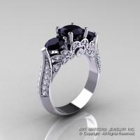 Classic 18K White Gold Three Stone Black and White Diamond Solitaire Ring R200-18KWGDBD-1