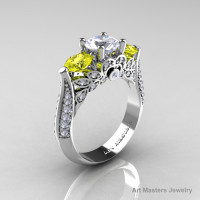 Classic 10K White Gold Three Stone White and Yellow Sapphire Solitaire Ring R200-10KWGYSWS-1