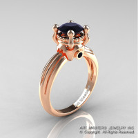 Classic Victorian 14K Rose Gold 1.0 Ct Black Diamond Solitaire Engagement Ring R506-14KRGBD-1