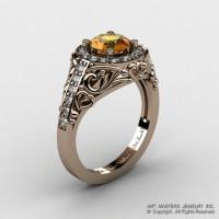 Italian 14K Rose Gold 1.0 Ct Citrine Diamond Engagement Ring Wedding Ring R280-14KRGDCI-1