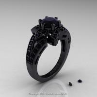 Art Deco 14K Black Gold 1.0 Ct Black Diamond Wedding Ring Engagement Ring R286-14KBGBD-1