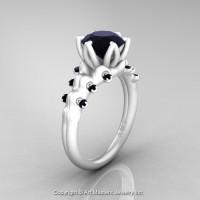 Nature Inspired 14K Ceramic White Gold 2.0 Carat Black Diamond Organic Design Bridal Solitaire Ring R670s-14KCWGBD-1