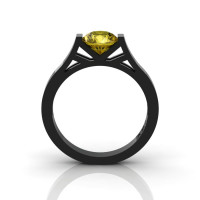 Modern 14K Black Gold 1.0 Ct Gorgeous Engagement Ring or Wedding Ring with a Yellow Sapphire Center Stone R667-14KBGYS-1